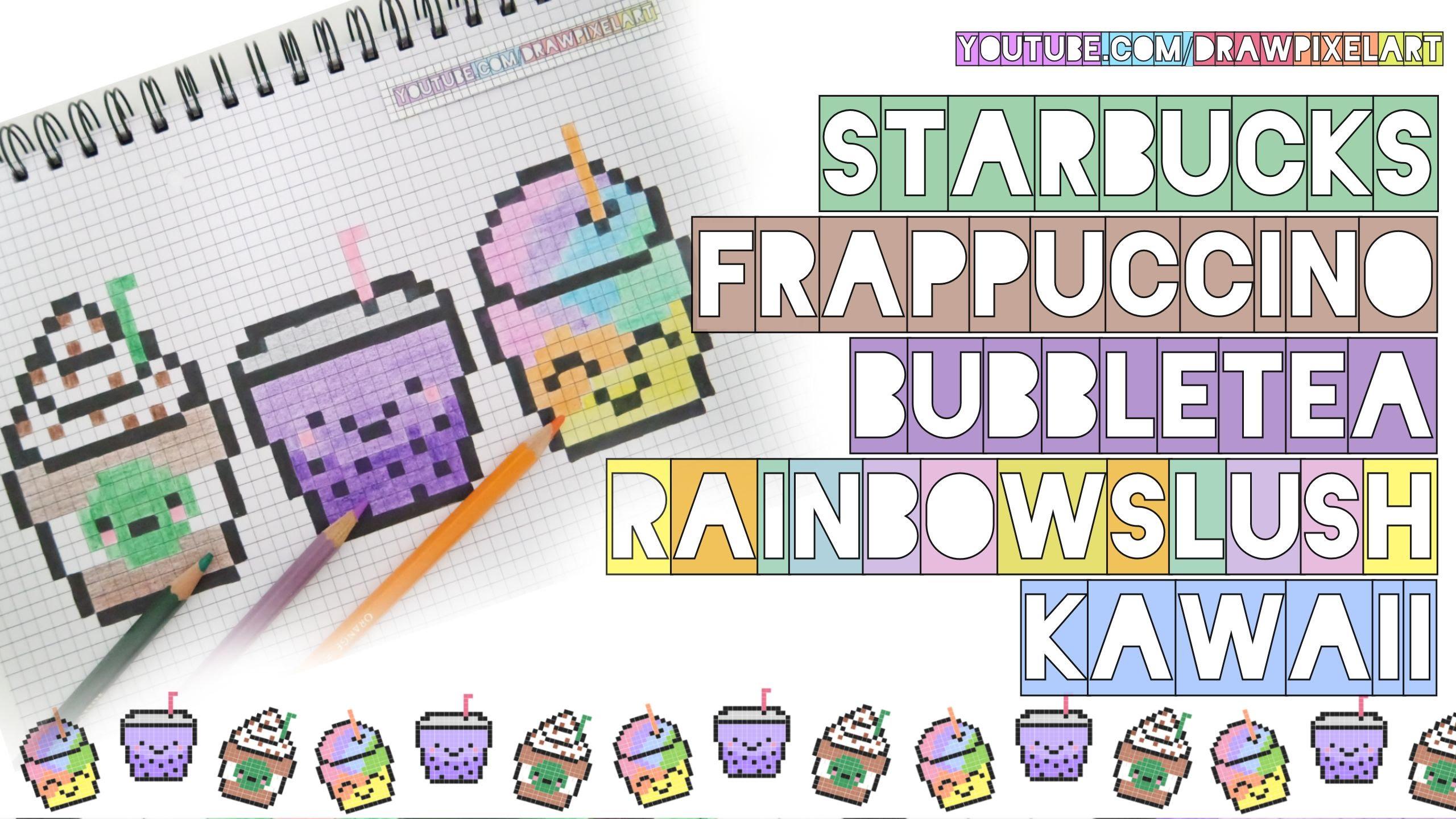 Drawn pixel art bubble Tea handmade to rainbow how
