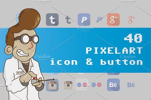 Drawn pixel art button Social social Social 40 media