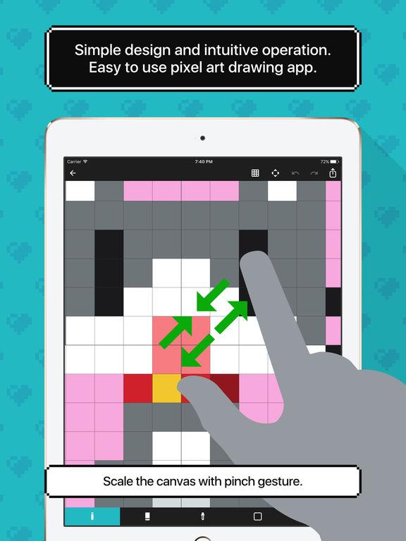 Drawn pixel art canvas On iPad the App 8bit