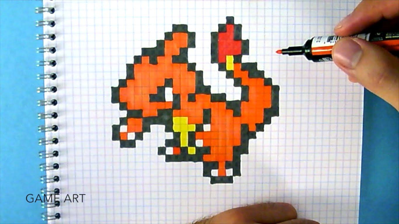 Drawn pixel art charmeleon GO YouTube draw PIXEL to