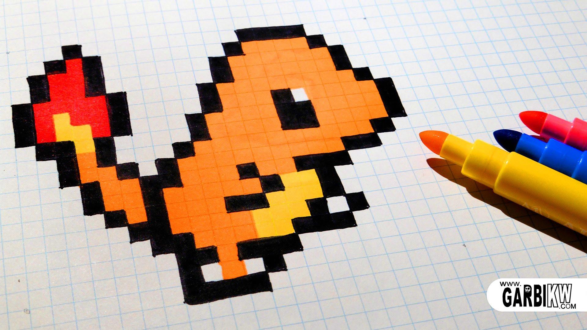 Drawn pixel art charmeleon Draw YouTube Art Handmade How