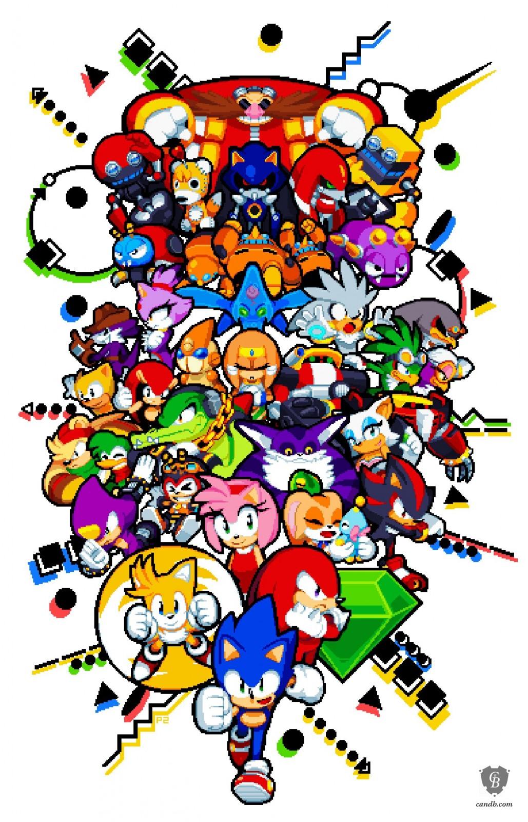 Drawn pixel art classic Hedgehog print the the Hedgehog