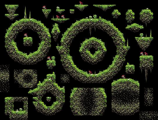 Drawn pixel art complex Tile rock tile art set