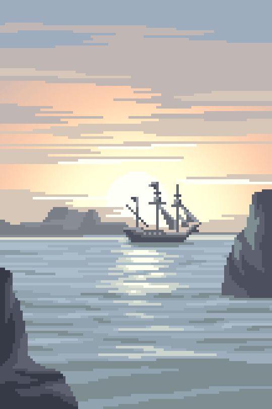 Drawn pixel art complex Pirate art on Pirates ships