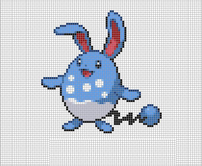 Drawn pixel art complicated Azumarill 30+ Art & Templates