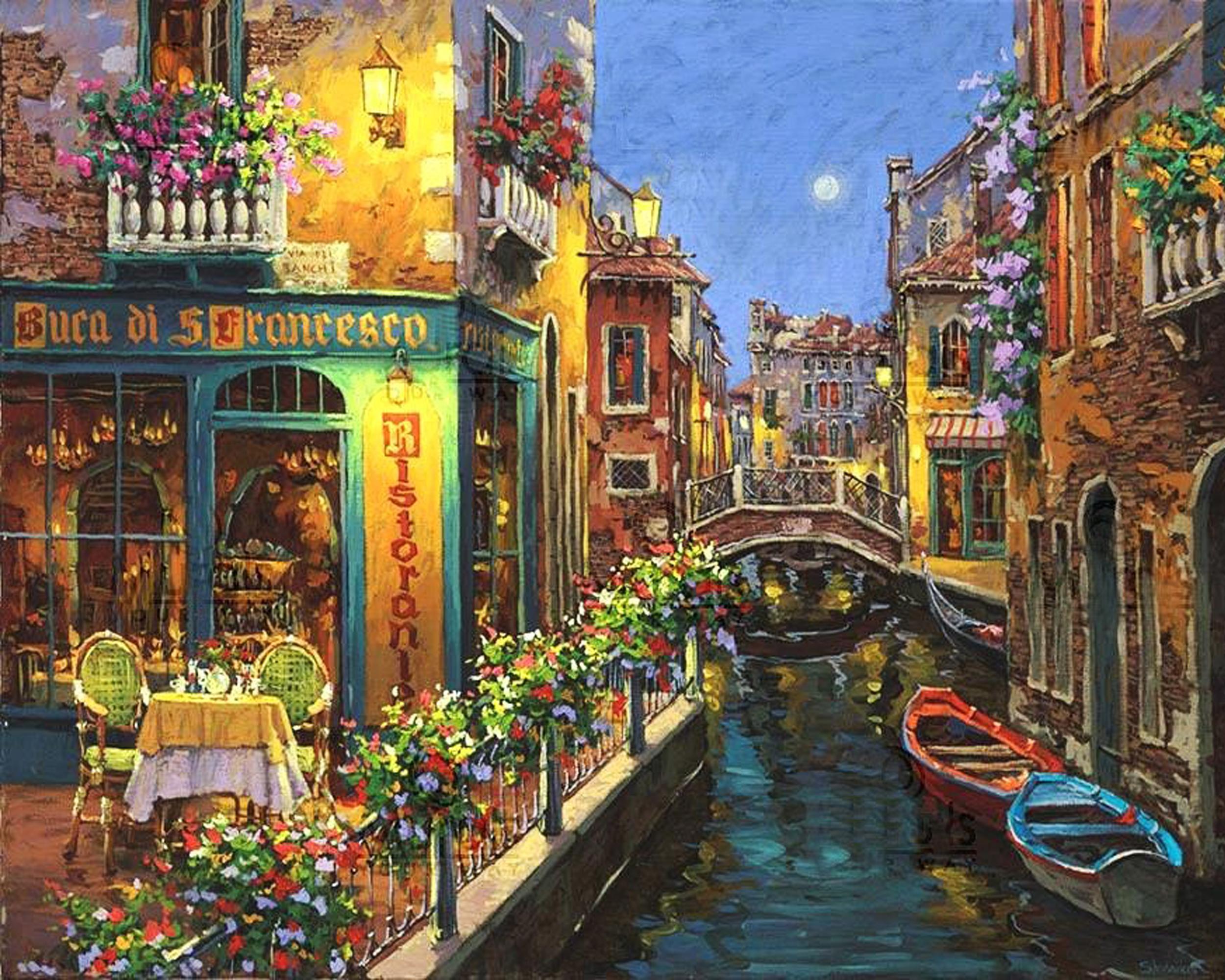 Drawn bridge love Canal Art Drawing wallpaper Cute
