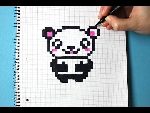 Drawn pixel art cute panda EASY Art CUTE YouTube Pixel