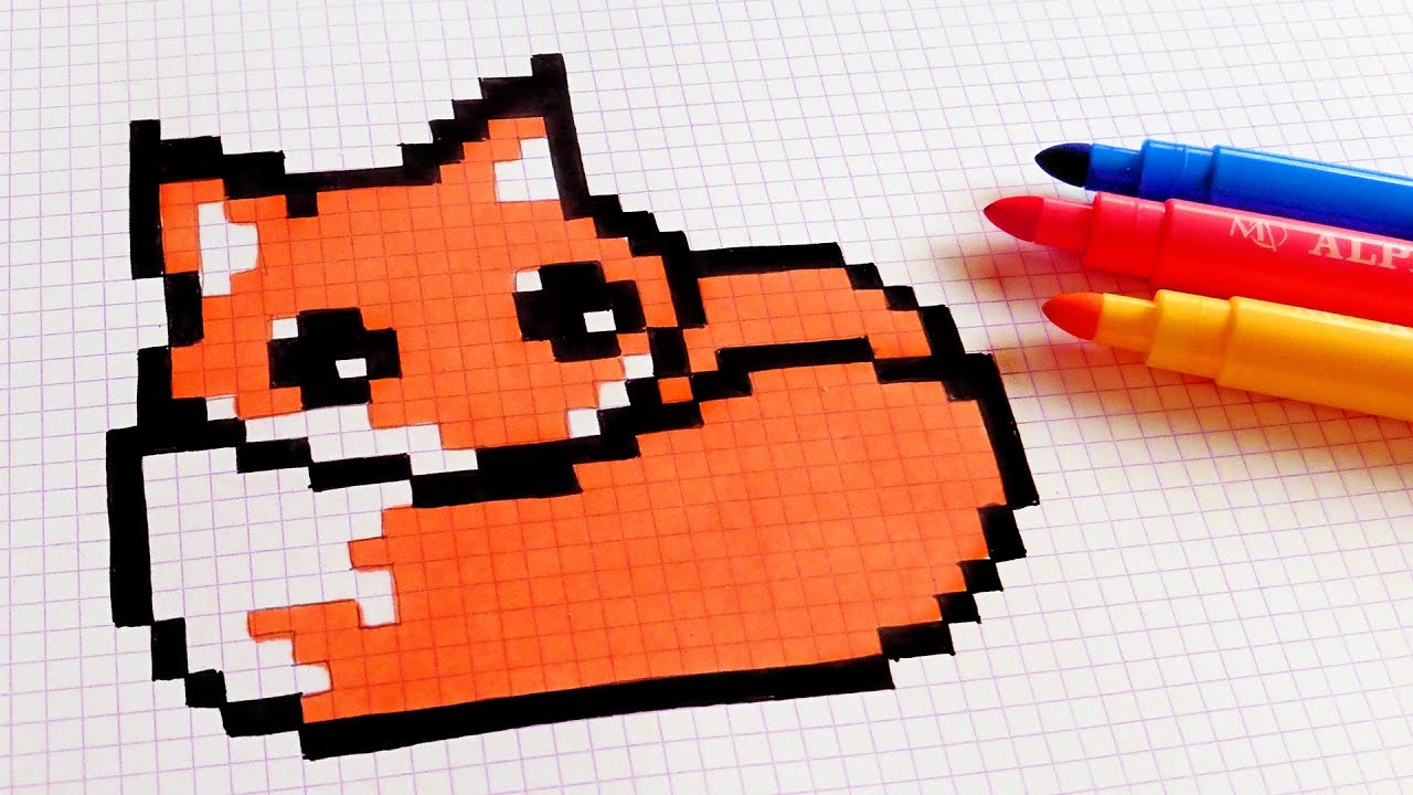 Drawn pixel art cute panda How Fox Pixel Pixel Art