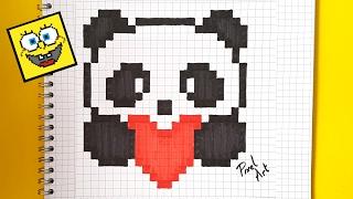Drawn pixel art cute panda PIXEL TO com ART A