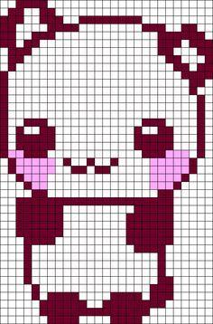 Drawn pixel art cute panda Google cute animal art templates
