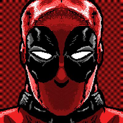 Drawn pixel art deadpool Capcom masked hero super Deadpool