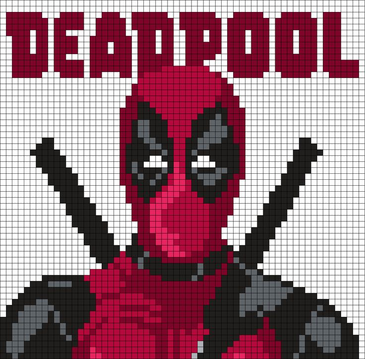 Drawn pixel art deadpool Perler Beads DeadpoolCrossstitchKandiPixel Art (Square)