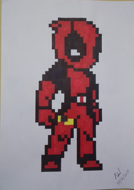 Drawn pixel art deadpool Em pixel Speed Drawing em