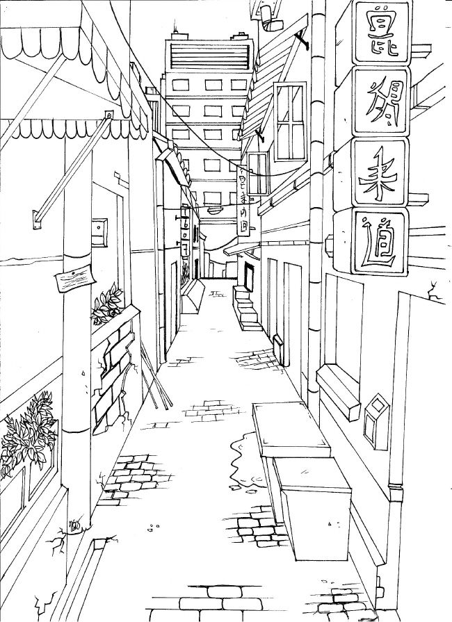 Drawn toad one point City by streets Japanese 25+