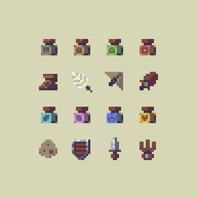 Drawn pug pixel art On palette 735 on potions)