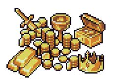 Drawn pixel art geek Illustrations coins Pixel images and