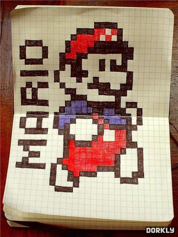 Drawn pixel art graph paper Like Mario paper It's art