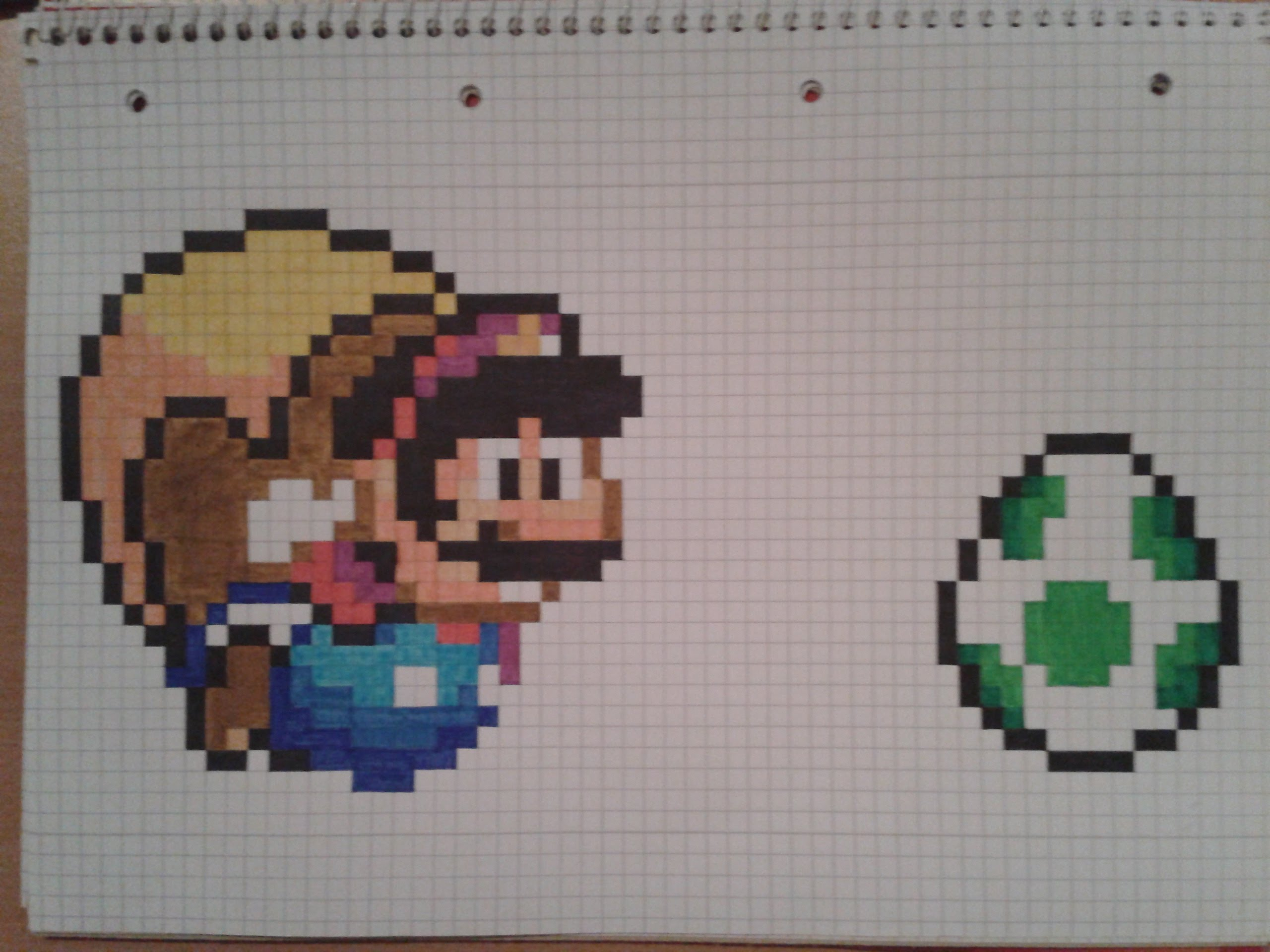 Drawn pixel art graph paper Flying Cape draw to: green