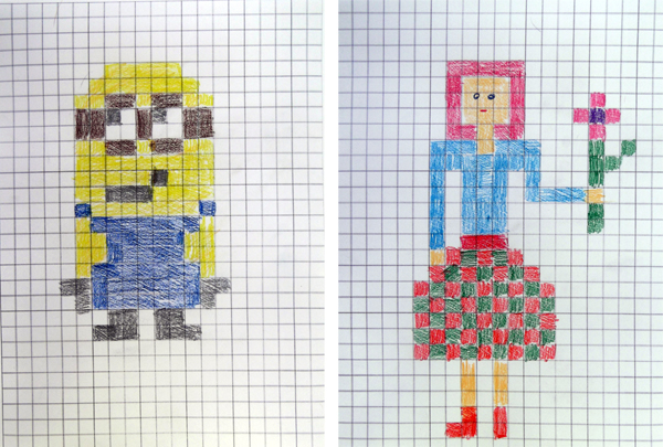 Drawn pixel art graph paper Painting grid kids art Craftsboom