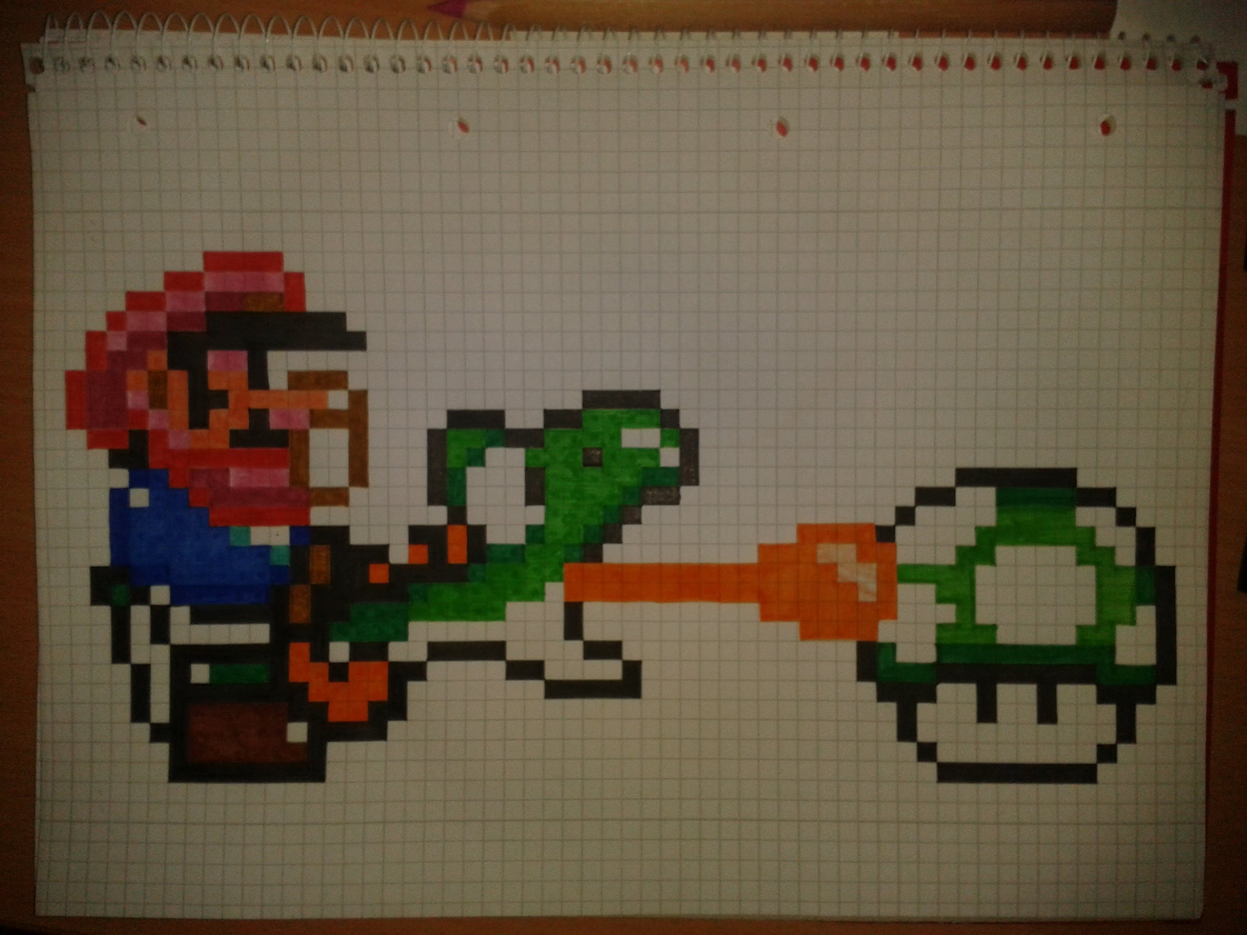 Drawn pixel art graph paper Mario and How pixel draw