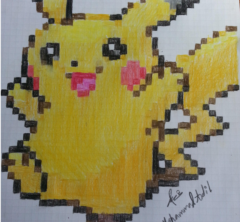 Drawn pixel art graph paper Art) How Pikachu draw: (pixel