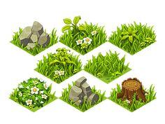 Drawn pixel art grass  isometric isometric Grass Tiles