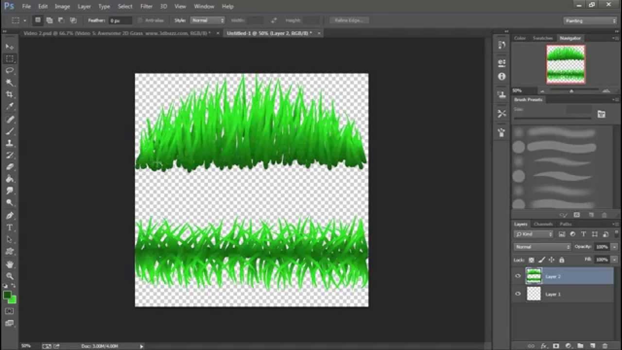 Drawn pixel art grass 2D for Non Game 2D