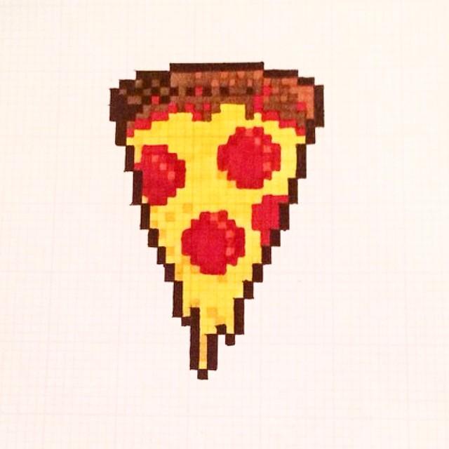 Drawn pixel art grid Loves #pizza a Instagram #8bit