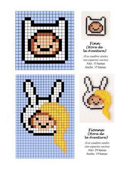 Drawn pixel art grid adventure time Pixel hama Minecraft Fionna time