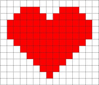 Drawn pixel art heart grid Heart Love Templates: Art Minecraft