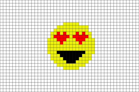 Drawn pixel art heart grid With Smiling Art  Pixel