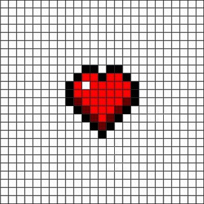 Drawn pixel art heart grid Pinterest ideas pixel on Easy