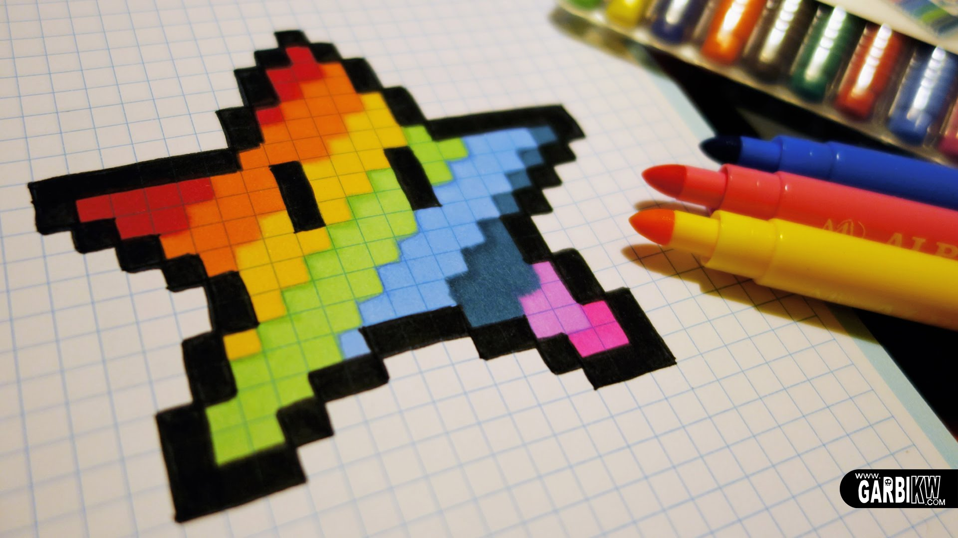 Drawn pixel art kawaii Draw #pixelart To Star Rainbow