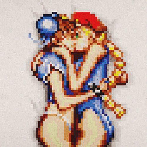 Drawn pixel art kiss #2