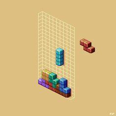 Drawn pixel art logo Pixel Tetris My pixel first