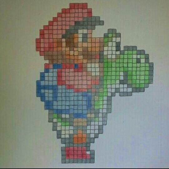 Drawn pixel art love Mustache who A pixel plumber…