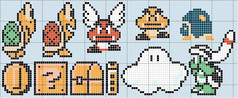 Drawn pixel art mario level Super Mario Patterns Stitch Patterns
