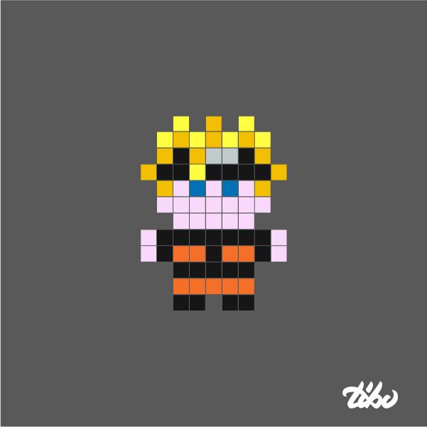 Drawn pixel art mini Heroes super Minimal 03e of