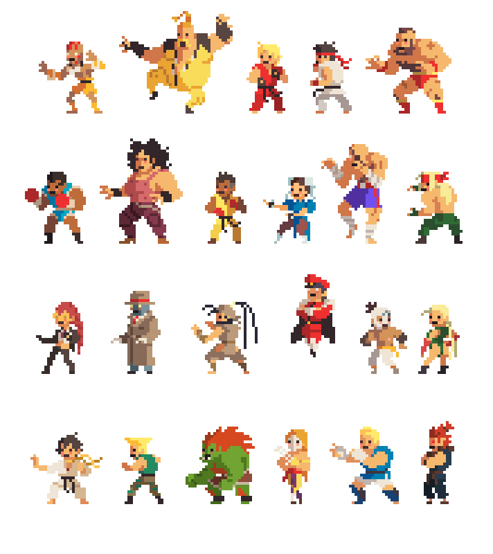 Drawn pixel art mini And fighters Pin characters 8