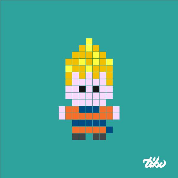Drawn pixel art mini Skills Mini cool called super