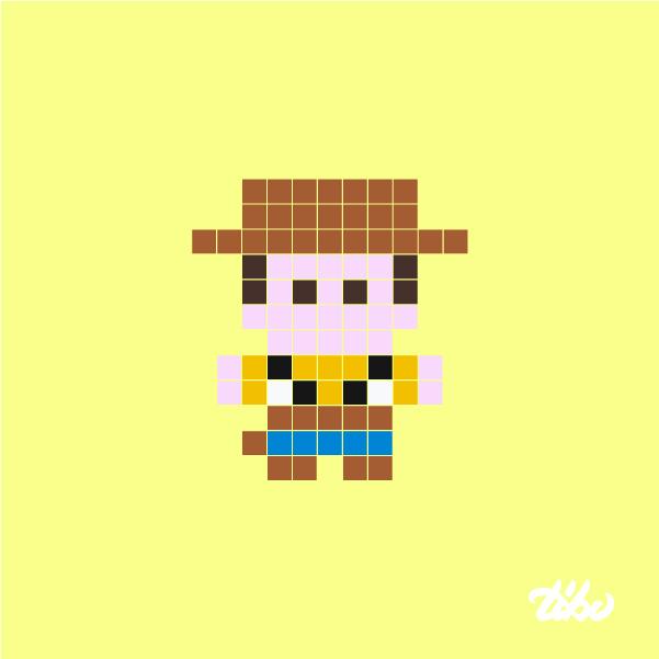 Drawn pixel art mini Heroes super Minimal 03d of