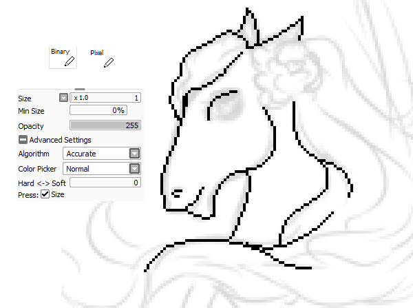 Drawn pixel art outline Tool pixel Paint drawing SAI