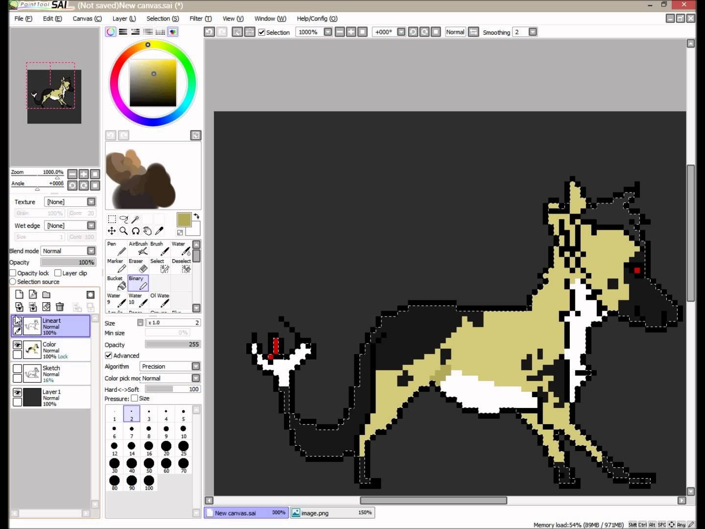 Drawn pixel art paint tool sai Tutorial Basic tutorial Art SAI)