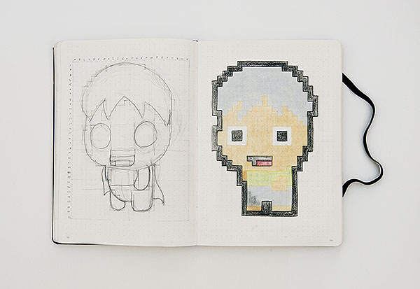 Drawn pixel art pencil #1