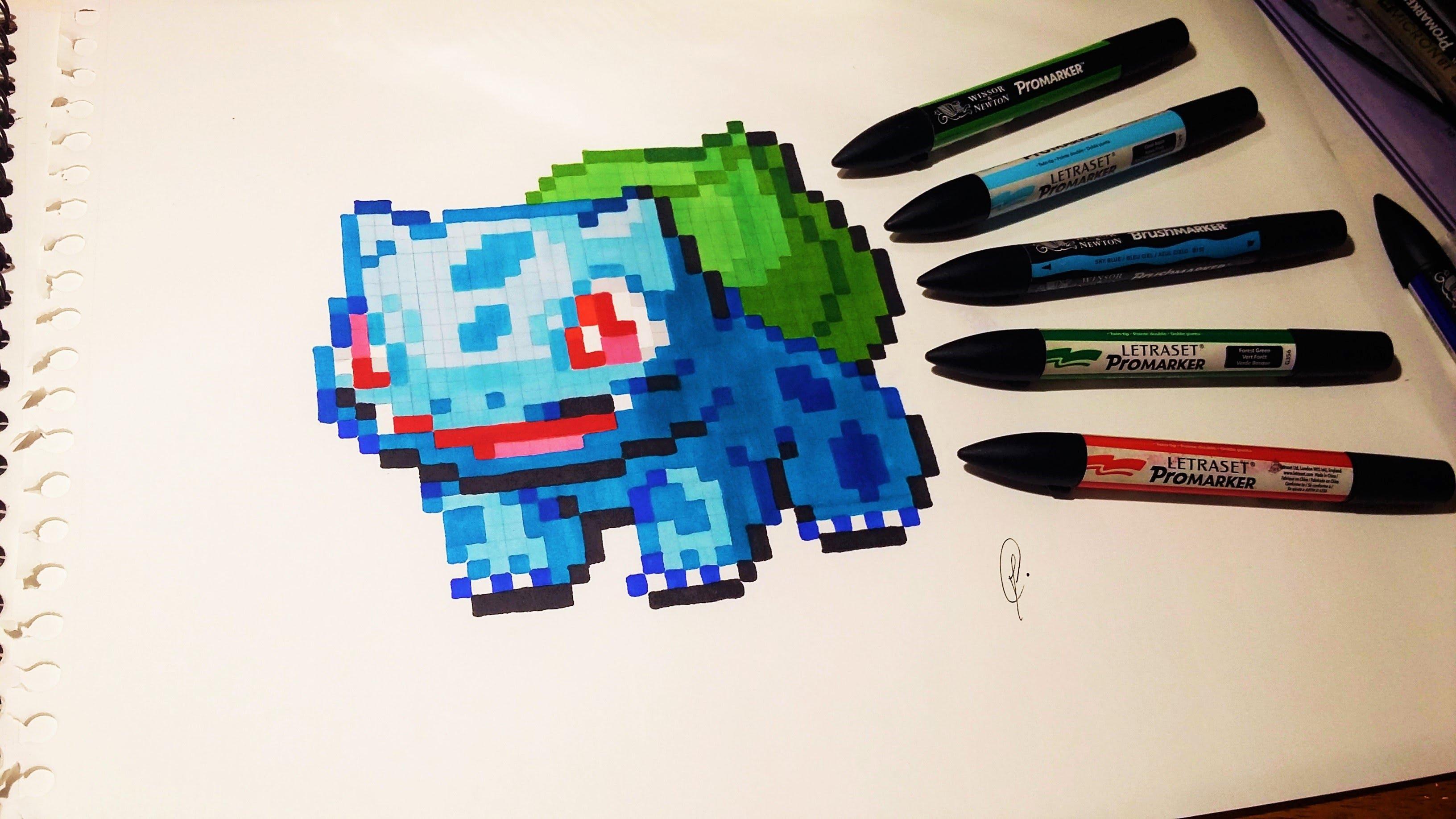 Drawn pixel art pixal Drawing Drawing YouTube Pixel Bulbasaur