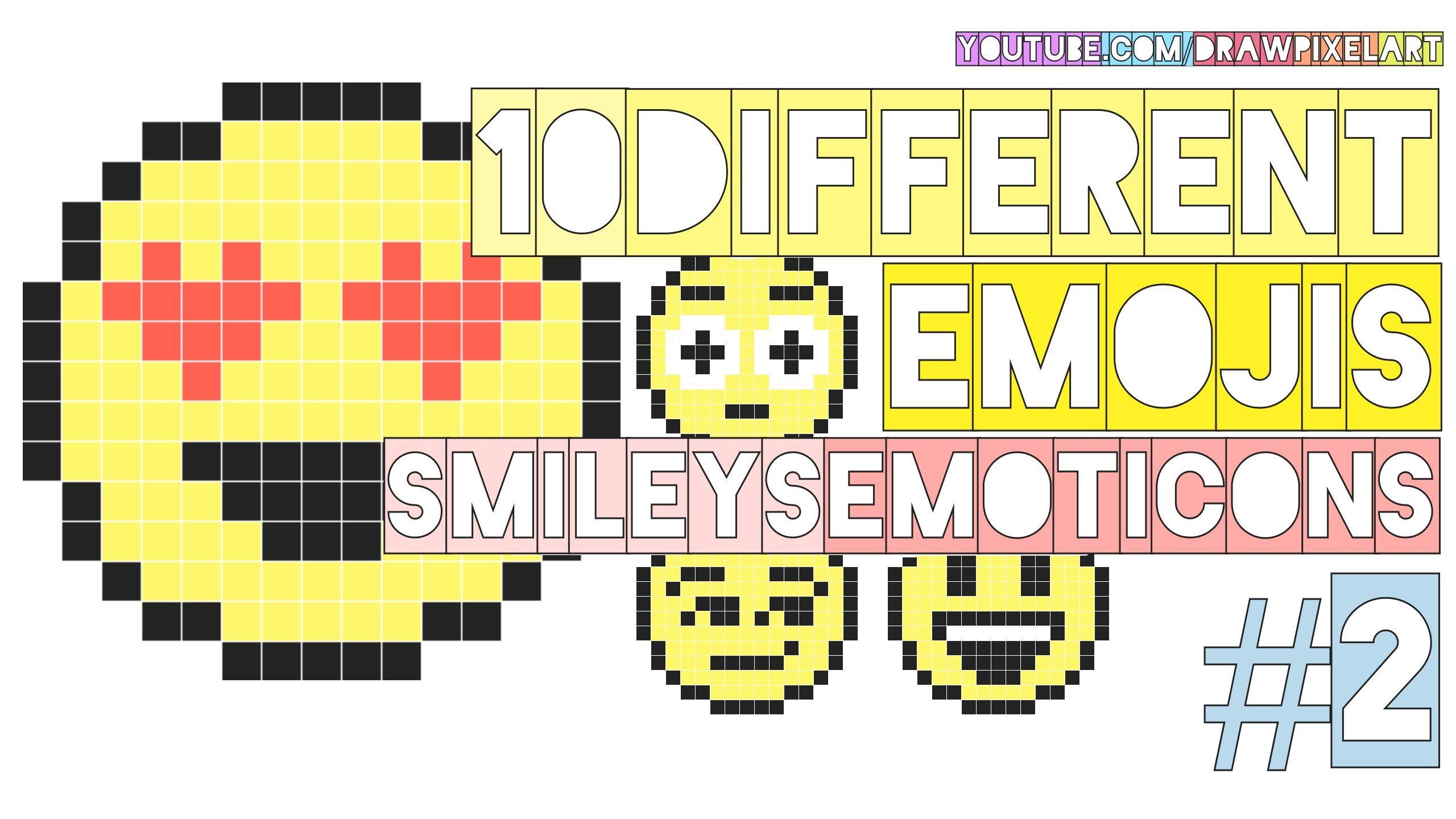 Drawn pixel art pixelated 10 emojis to emoticons different