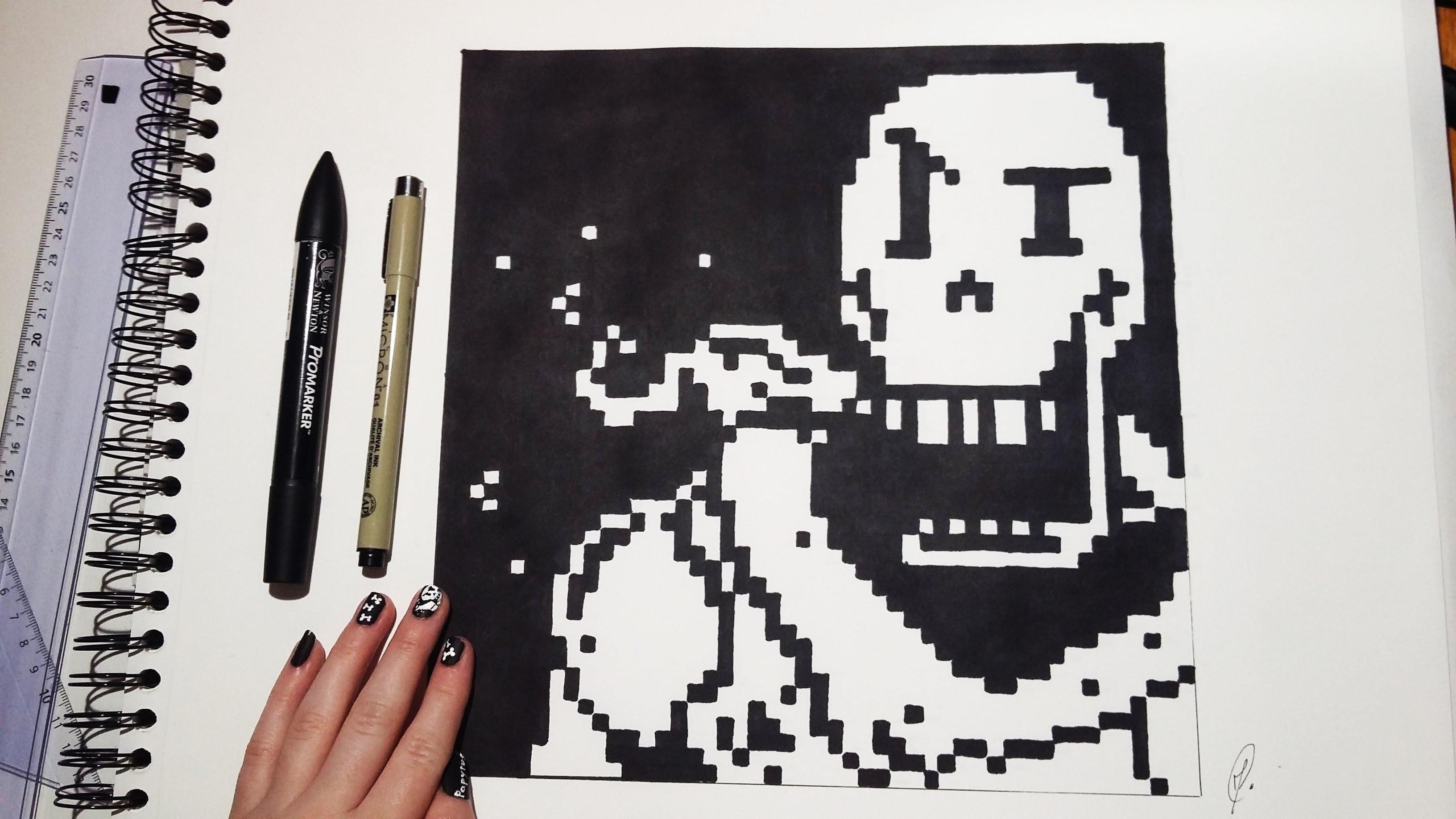 Drawn pixel art poxel Undertale Undertale Drawing Papyrus Art)