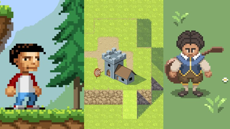 Drawn pixel art professional Pixel for for Udemy games