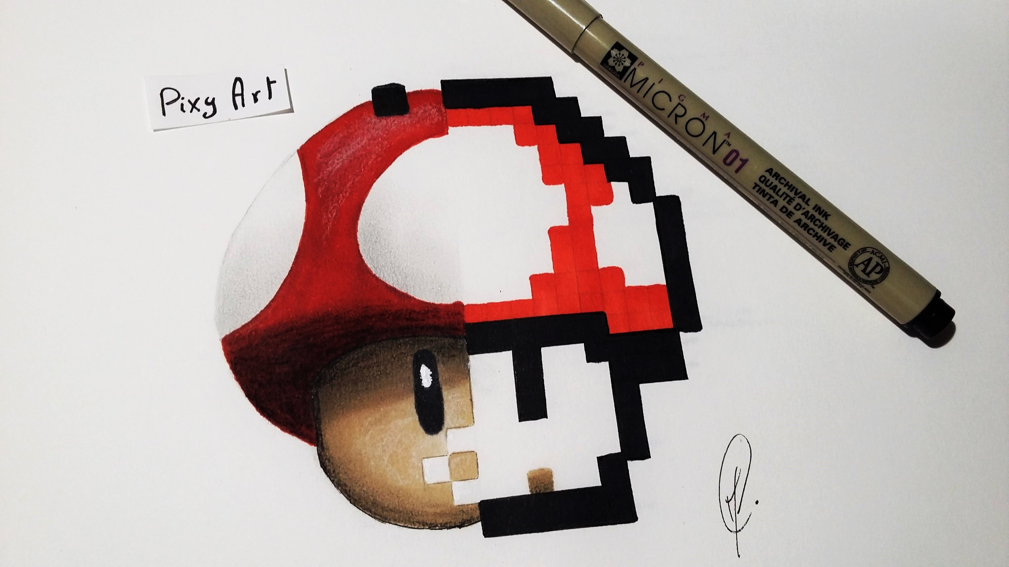 Drawn pixel art realistic Drawing Mario YouTube Mushroom by