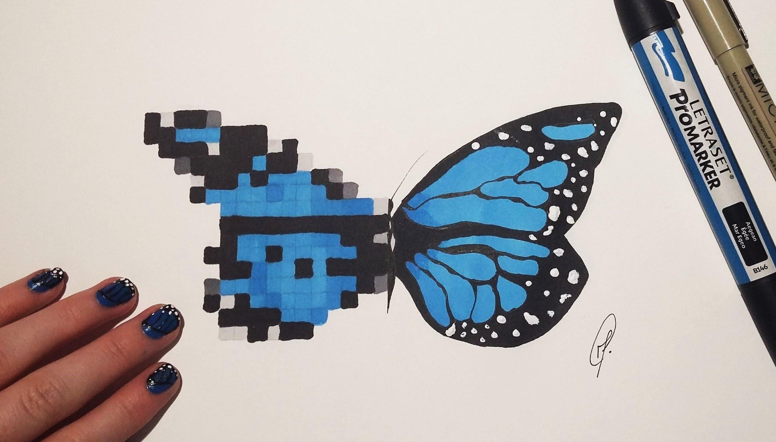 Drawn pixel art realistic Pixel & Drawing Fantasy Butterfly